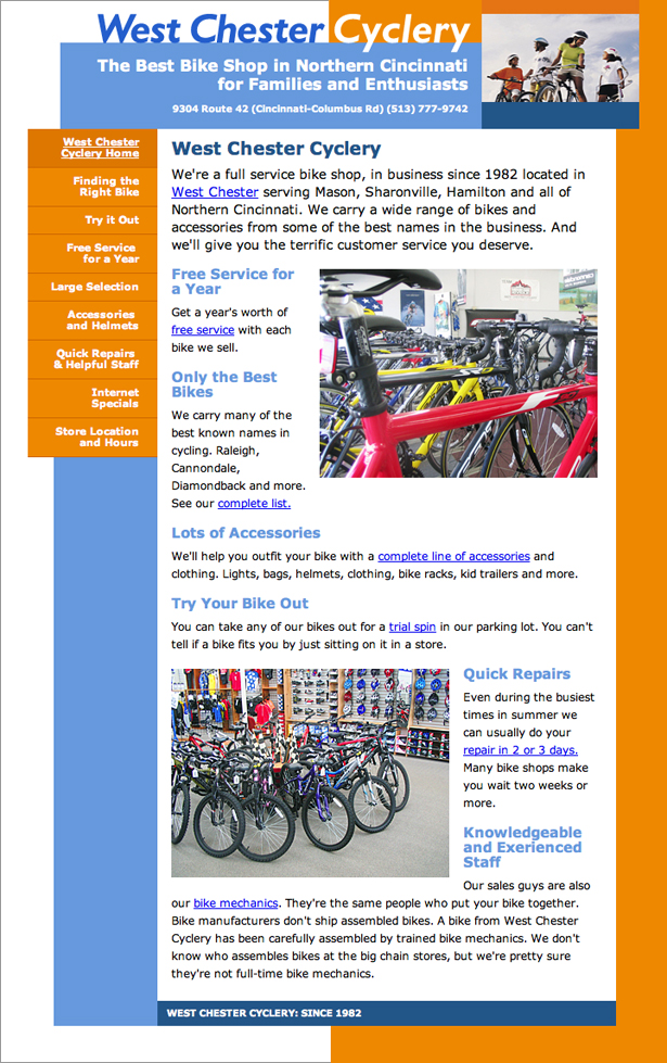 web site for West Chester Cyclery