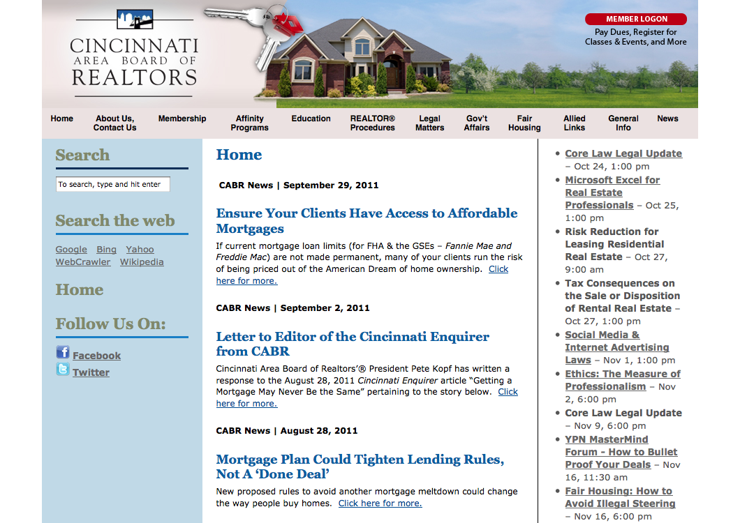 web site for Cincinnati Area Board of Realtors