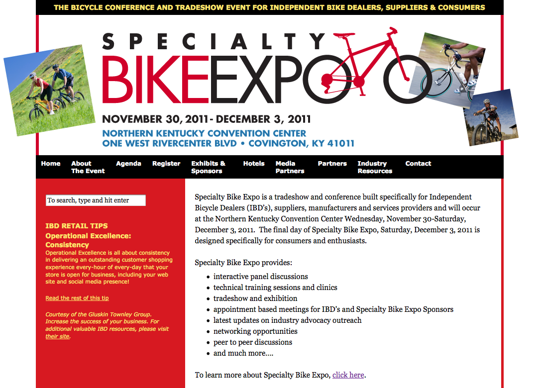 website for Specialty Bike Expo